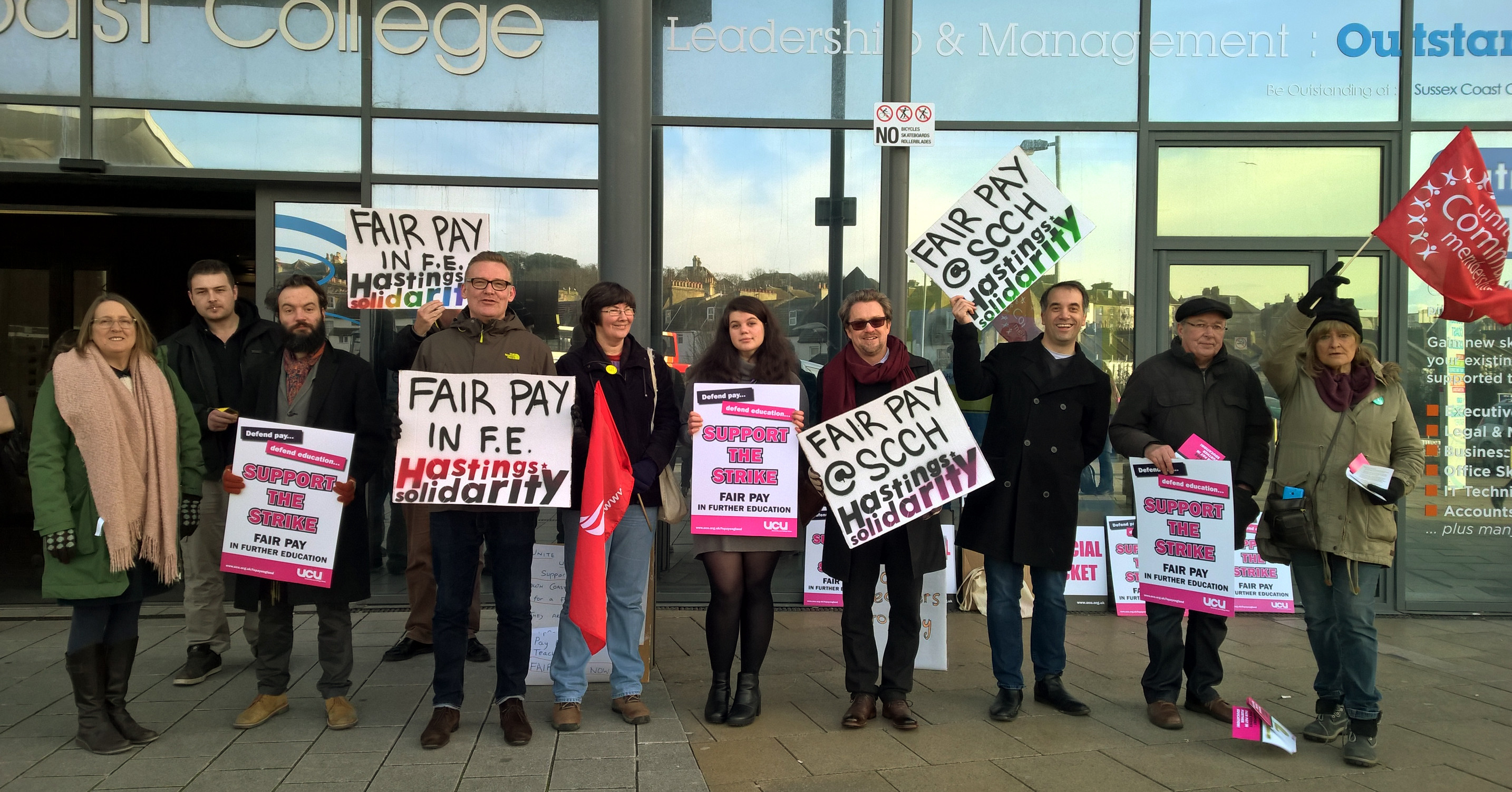 UCU and Unison picket line Sussex Coast College Hastings