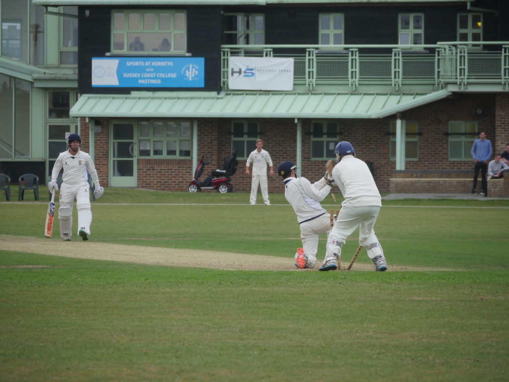 Jed O'Brien (Priory) bowled by Sam Roberts (Bexhill) credit: Reg Wood Event Photography