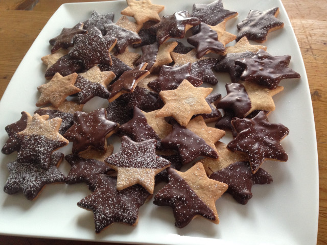 Chocolate Coated Almond Spice Biscuits