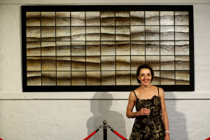 Elpida Hadzi-Vasileva in front of her installation for Coastal Currents