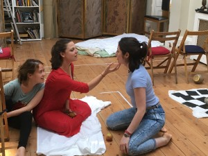 Judith Charron, Sara Parker, Lucilla Graham in rehearsal